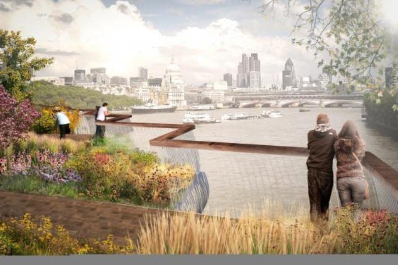 Thiết kế lan can và vườn dạo giúp du khách tận hưởng cảnh quan sông, vườn