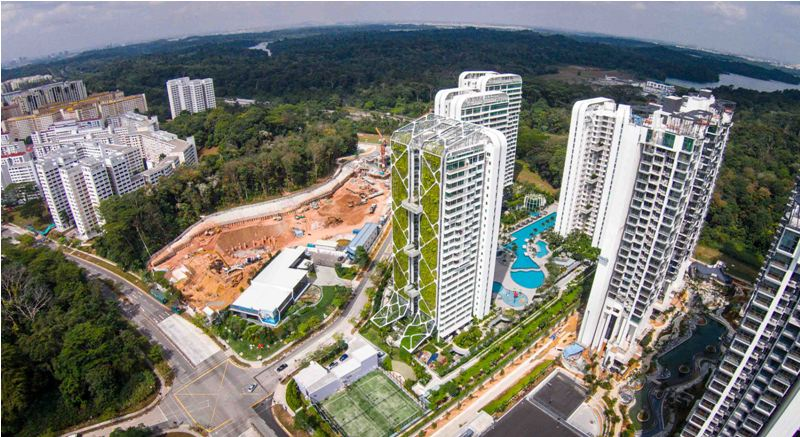 Aerial Photo taken from a drone or remote controlled helicopter of the top of Treehouse Condominum development, for City Developments Limited.