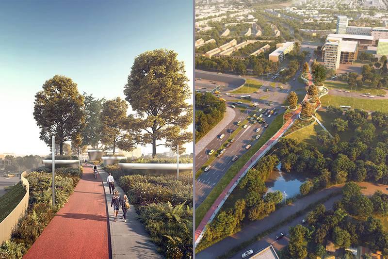 Concept 3D và hình ảnh thực tế cây cầu vượt đi bộ