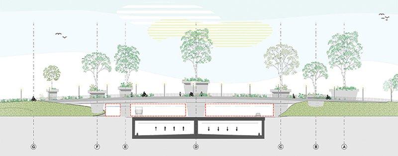 Các trụ của cây cầu được thiết kế với hình dáng của những chậu cây khổng lồ