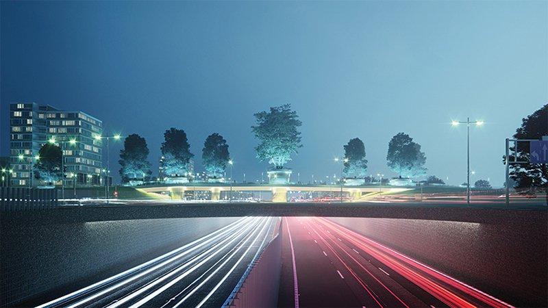 Cây cầu lung linh về đêm từ những ngọn đèn chiếu sáng