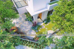 Thi công sân vườn biệt thự Gamuda công trình chị Vân