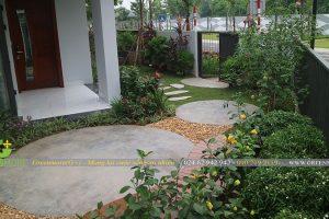 Hình ảnh thi công hoàn thiện sân vườn chị Vân KĐT Gamuda